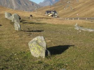 Quelques unes des pierres dressées du rond de pierres. Les lichens fixés sur le bloc du premier plan témoigne de l'ancienneté de la mise en place de ce bloc.