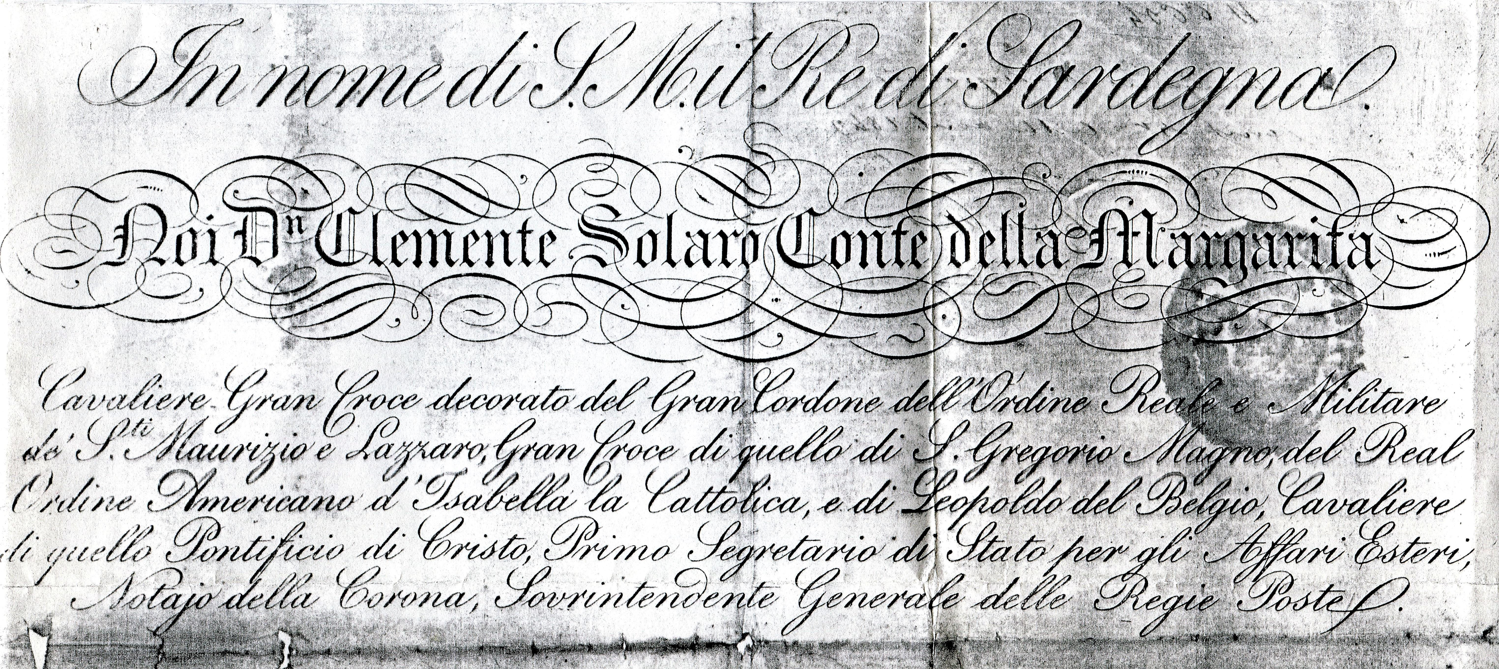 Titres et grades du comte Solaro de la Marguerite