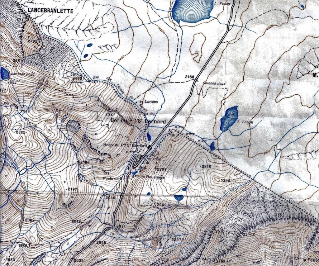 La représentation du col du Petit Saint Bernard et de la frontière en 1929.